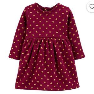 BNWT Carter's Glitter Heart Fleece Dress 24 Months